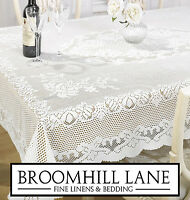 New! Lace Tablecloth Linen Traditional Woven White & Cream Round Oblong Square