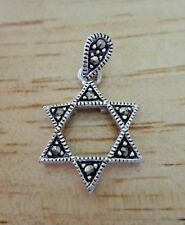 Sterling Silver 18x15mm Marcasite Star of David Jewish Charm fancy bale