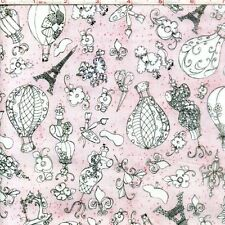 Loralie Designs Fancy Paris Pink Sew Paree 100% cotton fabric by the yard