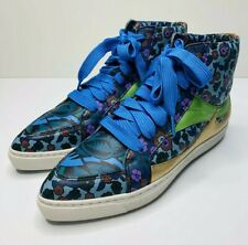 Coach Pointy Toe High Top Sneaker Size 8.5 B Model Q8805 C203 Blue Floral Print