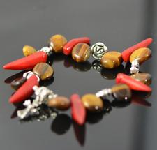Tiger Eye, Coral, Gemstone Bracelet, Silver Plated Spacer, Handmade, Natural