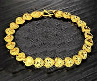 24k Yellow Gold Bracelets Bangle Womens Linked Hearts Wide +Gift Pouch D149