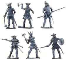 Cherilea Recasts - 24 Medieval Vikings in silver color - unpainted 60mm plastic