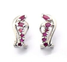 Ruby Earrings 925 Silver Rhodium-plated Sterling Silver