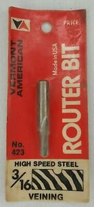 """Vermont American 423 High Speed Steel, 3/16"""" Veining Router Bit Made In USA"""