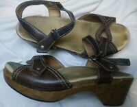 Dansko Womens Sara Brown Leather Ankle Strap Sandals Shoes Size 39  8.5-9 US