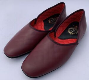 Pakeman Catto & Carter Grecian Leather Slippers - Colour Wine Size 8 - NEW