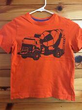 Hanna Andersson Cement Truck Shirt Boys Orange Top Size 120 7