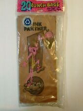 "20 Vintage Pink Panther Brown Paper Lunch Bags - New Sealed 12-1/2"" x 5-1/2"""