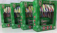 4 Boxes Brachs Cherry Candy Canes 12 Ct Christmas Rainbow Stripe 48 Sticks Total