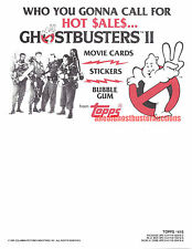 1989 Topps Ghostbusters II Trading Cards Original Promo Sell Sheet - Bill Murray