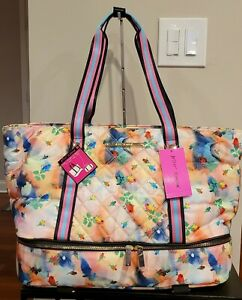 Betsey Johnson Quilted Nylon Weekend Tote Pink Multi
