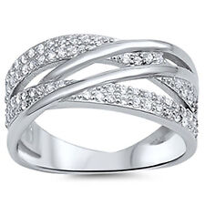Sterling Silver CZ Women's Overlap Fashion Ring Band Size 5-9
