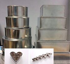 SET OF 10 WEDDING CAKE BAKING PANS TINS 5 TIER SQUARE ROUND FREE SET OF 6 CUTTER