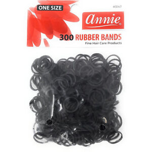 "ANNIE 300 RUBBER BANDS BLACK SMALL ONE SIZE 1/2"" #3147 ELASTIC HAIR TIE"
