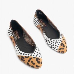Skechers CLEO - PARTY ANIMAL Ladies Knit Ballerina Memory Foam Shoes Tan/Black