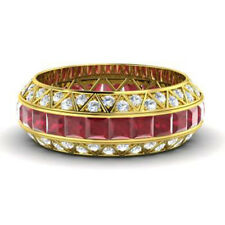 14K Yellow Gold Gemstone Band Natural 3.50Ct Ruby Diamond Eternity Rings Size N