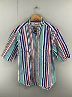 Page 1 Mens Vintage Short Sleeve Button Up Shirt Size S Green Blue White Striped