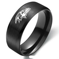 Baltimore Ravens Football Team Black Stainless Steel Mens Band Ring Size 6-13
