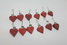 Valentine'S Day Primitive Red Embossed Hearts With Wire Hangers Set Of 12