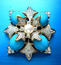 SUPERB VINTAGE JOMAZ TURQUOISE BLUE CABS PEARL PAVE' R/STONES GOLD TONE BROOCH