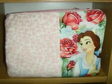 23cm x 17cm ZIP COSMETIC PURSE IN PRINCESS BELLE IKEA PINK ROSE PRINT COTTON