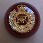 Royal Engineers RE Badge Acrylic Paperweight QC EIIR Cipher Good Used Condition