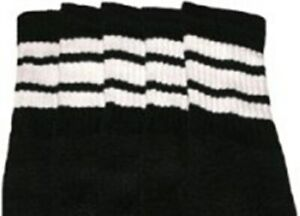 "19"" MID CALF BLACK tube socks with WHITE stripes style 1 (19-79)"