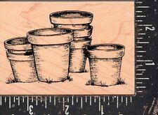 Great Impressions Wood Mounted Rubber Stamp Flower Pots