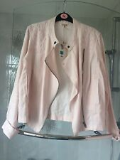 M&S INDIGO JACKET BIKER 14 PALE PINK LINEN BRAND NEW WITH TAGS