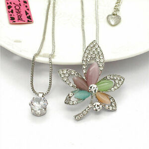 Cat Eye Maple Leaf Crystal CZ Double Pendant Betsey Johnson Chain Girl Necklace