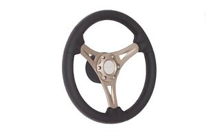 New GUSSI ITALIA Boat Steering Wheel Black Soft Touch Rim Bronze Spokes