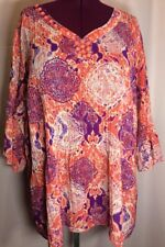 Catherine's 4X 5X? Plus Blouse Shirt Purple Coral Pink Career Casual Top G26