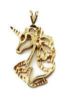 10k Yellow Gold Diamond Cut Unicorn Charm Necklace Pendant ~ 2.1g