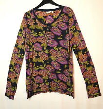 NAVY GREEN PINK FLORAL LADIES CASUAL TOP BLOUSE STRETCH JERSEY SIZE 14 FAT FACE