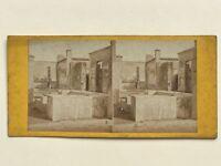 Pompei Italia Un Uomo Nel I Ruines Foto Stereo Vintage Albumina c1865