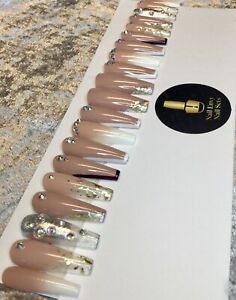 Nude Ombre Gold Mix False Press On Extra Long Ballerina Nails Set