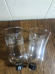 """(2) Vintage Winter SLEIGH RIDE Etched Peg Sconce Clear Glass Candle Holders 5"""""""