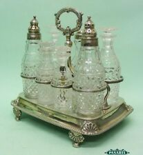 Sterling Silver 7 Bottle Cruet Set Wright & Fairbairn Sheffield England 1811