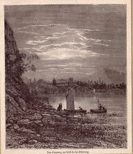 FRANCE vue au bord du lac d'Annecy  gravure ancienne 1880 / GF7