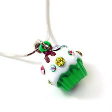 Small Green Cupcake Charm Pendant Necklace