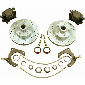 "Mustang II 2 Front 11"" Drilled Rotor Upgrade Disc Brake Kit For No Spindles"