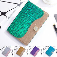 Luxury Bling Leather Flip Card Holder Case Cover For Samsung Galaxy Tab Tablets