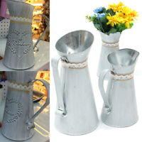 Zinc Iron Jug Vintage Rustic Shabby Chic Vase Wedding Party Home Decor 2 Sizes
