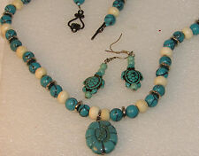 Turquoise & Howlite Beaded Turtle Dangle Earrings and Flower Toggle Necklace