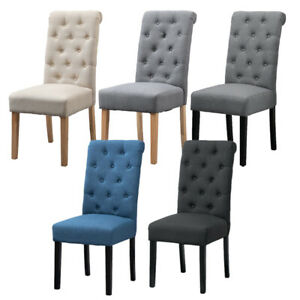 2/4/6x Fabric Button Tufted Dining Chairs Upholstered Kitchen Dining Room Grey