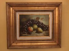 B. Rosati Oil Canvas Painting Still Life Pears, Apples & Grapes Gilt Frame