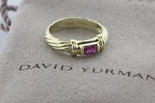 David Yurman 14K Gold Emerald Cut Ruby Classic Twisted Rope Band Ring - Size 6