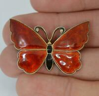 Beautiful Meka Designer Silver & Red Enamel Butterfly Brooch