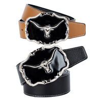 Western Cowboy Belt Buffalo Head Buckle Rodeo Waist Belt Genuine Leather